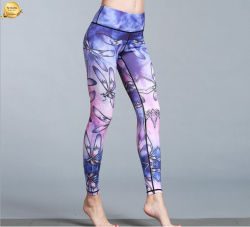 인기 있는 운동복 요가 레깅과 승화 프린팅 여성용 레깅스 허리 높이까지 스포츠 타이트 레깅스 착용