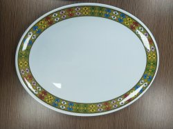 Hochwertige weiße ovale Melamin-Platte für Hotels