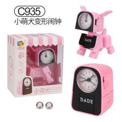 Hundespielzeug manuelle Transformations-Roboter-Hundekleine Alarmuhr-der kreativen mini elektronischen Alarmuhr-Kinder