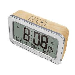 Mesa de escritorio LCD táctil de madera de la luz de la noche Función Snooze 2 Reloj de alarma de la oficina