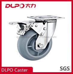 Dlpo 5*2 borracha elástica de mamona Industrial Roda com travão de Metal
