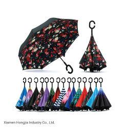 """23 """" Paraplu van de Manier van de Stof van de Pongézijde de Omgekeerde voor Zonnig en Regenachtig"""
