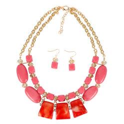 Logotipo personalizado geométrico de resina acrílica señoras joyas collar Earring Set