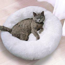 Los suaves peluches cama perro calmante Donut cama Pet Saco de Dormir Kennel Gato cachorro Sofá-Cama Casa
