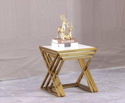 De aço inoxidável com sala de estar a extremidade lateral da mesa de café de aninhamento Tabela com moderno mobiliário doméstico de vidro temperado
