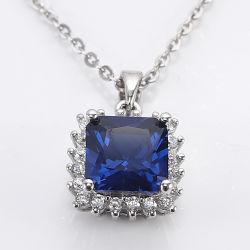 Mayorista de moda de joyería de piedras preciosas de regalo de bodas de plata 925 joyas collar con corindón azul