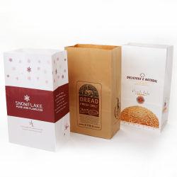 L'emballage alimentaire Sac en papier kraft à fond plat avec capot ouvert