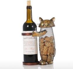Decoração adorável gato Animal ferro metálico vinho vaso de Rack titular de cortiça