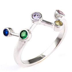 Rhodium die van de Juwelen van de manier de Kleurrijke Ring van de Juwelen Silve van CZ S925 Echte voor Yong Girl plateren