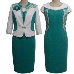 Deux morceau les vestons de complet et coupe Slim robes femmes dame élégante dentelle de mère de la mariée robes
