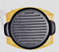 Quadratische Decklack-Roheisen-Gitter-Wanne/Fischrogen-Wanne/Steak-Platte