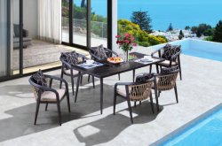 Diseño simple de aluminio de alta calidad PE Rattan jardín muebles de exterior