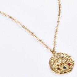 Оптовая торговля новейших Fashion украшения Gold подвесная цепочка с искусственного камня леди ожерелья из нержавеющей стали