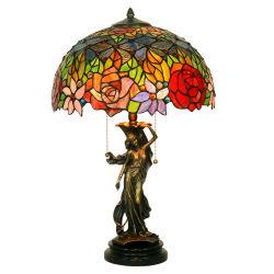 Lampada da tavolo in vetro colorato stile Tiffany rosa da 16 pollici con 100% Base per ragazza in bronzo
