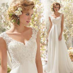 Mangas Suite vestido Chiffon Lace vestido de casamento Praia Maternidade vestidos baratos LB20402 estoque
