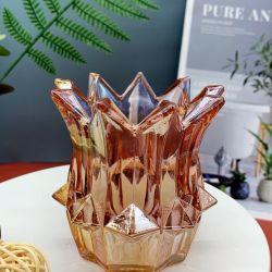 Wholesales alta qualidade em casa de luxo vidro decoração suporte para velas, Cores Personalizar Estilo Moda Vela Vidro recipiente, material de vidro