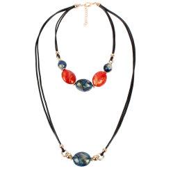 Perla redonda Cordón de la cuerda de cera de resina acrílica señoras joyas al por mayor collar