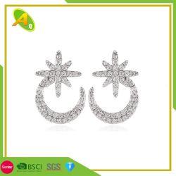 Venda por grosso de jóias de prata e jóias brincos estrela da Lua para meninas En Moda jóias de Aço Inoxidável CZ brincos de arcos de pedra (11)