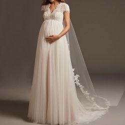 Mangas da pac Suite Beca Backless Lace Tulle Beach Maternidade vestido de noiva Lb2041