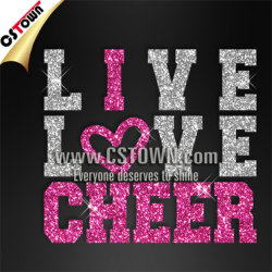 GroßhandelsGarment Accessory Glitter Live Love Cheer Iron auf Bling