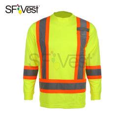 Alta aerada de Manga Longa Vis Reflective equipamento de segurança T-shirt de trabalho