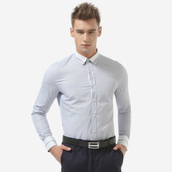 Comercio al por mayor diseño personalizado de poliéster de Guangzhou Camisas casuales los hombres de algodón Camisa de vestir