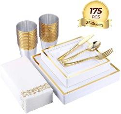 175 pièce en or de la vaisselle Set de 25 guest-50 les plaques de plastique carrée-25 plastique d'or de l'Argenterie-25 Tasses en plastique d'or-25 Linge de maison comme l'or des serviettes en papier