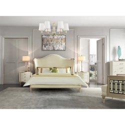 나이트 테이블이 있는 현대적인 중국식 목재 킹사이즈 침대 침실 가구