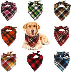개 밴대나 격자 무늬 뒤집을 수 있는 튼튼한 애완 동물 삼각형 헤드 스카프 부속품