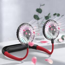 Mini baratos ventilador USB Portatil colgando del cuello para cuello de ventilador con luz LED pequeño escritorio de mano de un refrigerador de aire acondicionado ventiladores Aromatheraphy Deportes