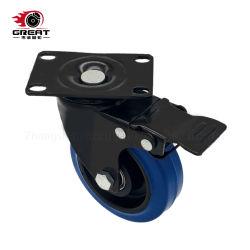 中型ヘビーデューティダブルボールベアリング青色ゴム、 PVC 、 PU 、 PP ホイールブラックハウジング固定 / スイベル / ブレーキキャスターホイール