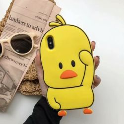 도매 최신 선전용 선물 고무 iPhone x 쉘 노란 오리 실리콘 셀룰라 전화 쉘