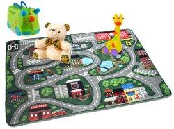 子供の教育のおもちゃの折りたたみは車が付いているカーペットの道路交通の子供の演劇のマットを転送する
