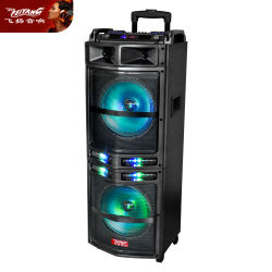 Di legno attivi alimentati del DJ si raddoppiano altoparlante forte chiaro ricaricabile del USB Bluetooth da 10 pollici il LED Mic audio