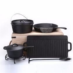 Pre-Seasoned 7 piezas de hierro fundido para servicio pesado Dutch Oven Camping Utensilios de Cocina con la cosecha de llevar la caja de almacenamiento
