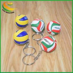Mini-promotionnels personnalisés PVC Chaîne de clés de volley-ball, le cuir Ball Key Ring pour les cadeaux d'affaires
