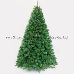 2020 Nuevo diseño de 210cm en PVC Verde Árbol con bisagras de metal con cono de pino rojo Berry