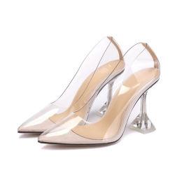 Commerce de gros transparent personnalisé talons pompes perspex transparent haut talon Chaussures femmes