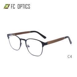 古典的な形の円形の金属の理想的な方法木のアセテートの先端現代光学フレームの眼鏡メガネガラス