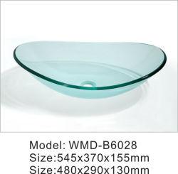 투명한 강화 유리 세면대 싱크대 욕실 세차 베이슨 유형 사용자 지정 투명 유리 베이슨