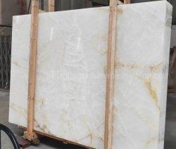 La pierre naturelle onyx blanc cristal de grandes dalles de marbre/Jade/murs carrelés d'Onyx