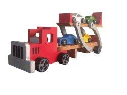 목재 자동차 캐리어 트럭 장난감, 4대의 차량 포함 어린이