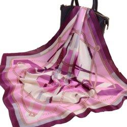 卸し売りカスタムデジタルプリント方法女性の正方形の純粋な絹のあや織りのスカーフ