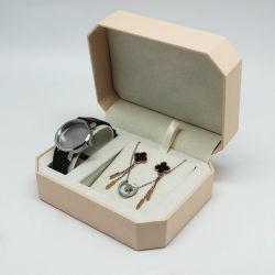 Achthoekige plastic doos voor horloge en sieraden, Custom Gold Color Watch Packaging Box met Sieraden Sets doos met Velvet Insert