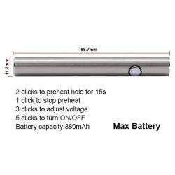 Prix de gros de la Chine 510 Max Thread Vertex meilleur CBD Vape Pen batterie la batterie