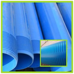 UPVC Pvcu PVC en plastique de couleur bleue Caissons pour puits de forage filetées de l'eau tuyau et le tuyau du filtre du tuyau d'écran fendu