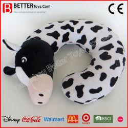 Vaca de pelúcia brinquedo em forma de U Travel travesseiro para o pescoço