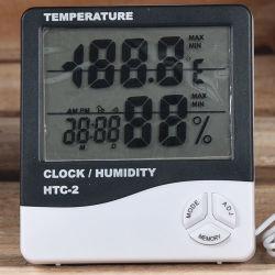 HTC-2 LCD numérique de température électronique Station météorologique de compteurs d'humidité intérieur extérieur Thermomètre Hygromètre testeur avec alarme