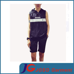Men (JS9035m)를 위한 형식 Striped Sleeveless Hooded T-Shirt Suit