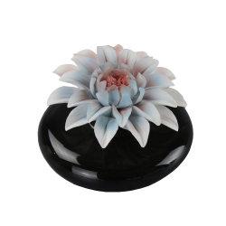 Heißes Verkaufs-Schwarz-keramische Duftstoff-Flasche mit Blumen-Schutzkappe